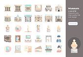 Modern flat design icons set of Museum. 48x48 Pixel Perfect icon. High-quality Flat icon design.