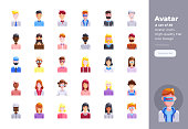 Modern flat design icons set of People Avatar. 48x48 Pixel Perfect icon. High-quality Flat icon design.