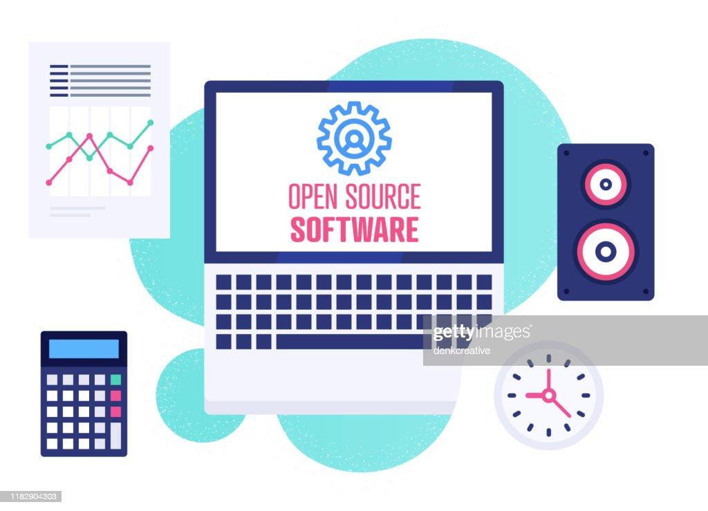 Modern Flat Design Illustration for Open Source Software : Stock Illustration