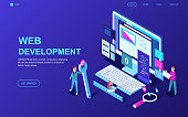 Modern flat design isometric concept of Web Development decorated people character