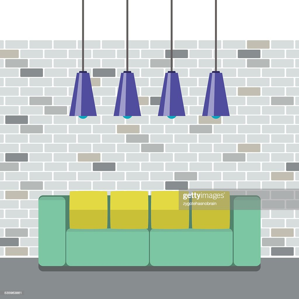 Modern Flat Design Sofa Interior : Vector Art