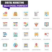 Modern flat digital marketing icons set