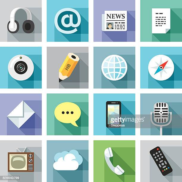 modern flat icons. communication - webcam media apparaat stock illustrations