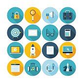 Modern flat icons vector collection with long shadow effect.
