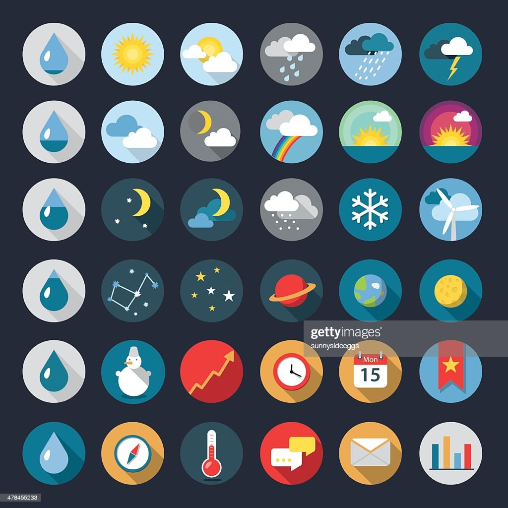 Modern flat icons vector collection with long shadow effect. weather
