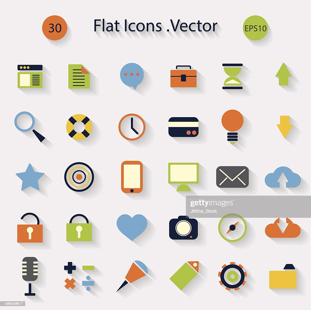 Modern flat icons with long shadow .Vector Design