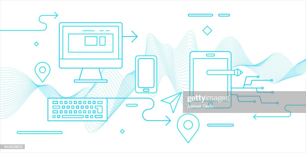 Modern flat illustration electronic devices