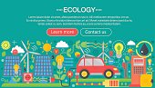 Modern flat infographic ecology concept. Green energy alternative fuel. Web header poster.