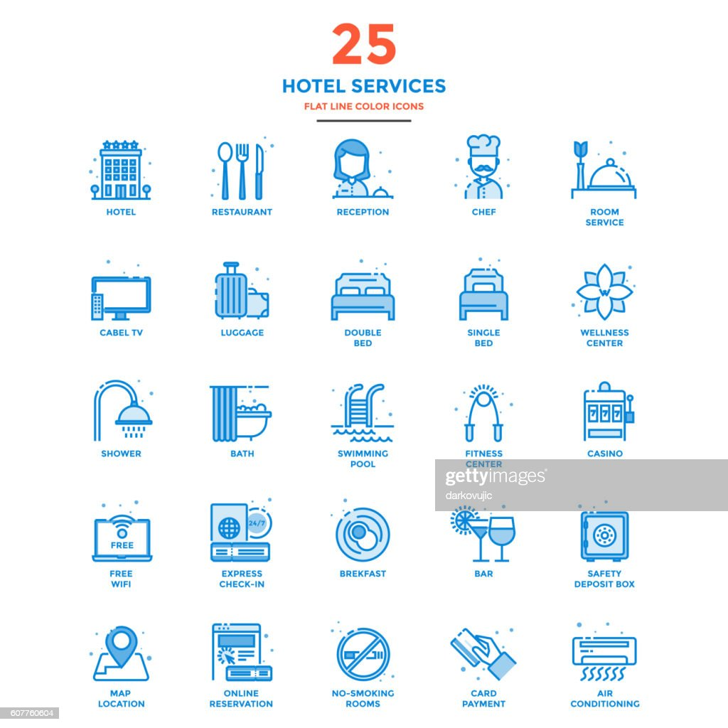 Modern Flat Line Color Icons- Hotel Services