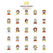Modern Flat Line Color Icons- People avatars