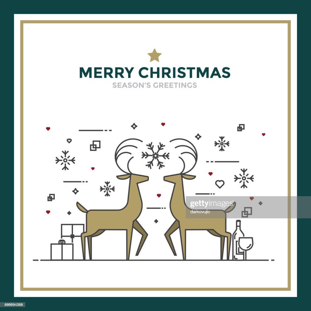 Modern flat line creative christmas greeting card design vector art modern flat line creative christmas greeting card design vector art m4hsunfo