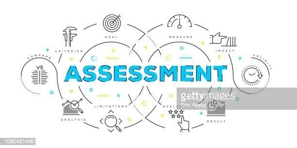 modern flat line design concept of assessment - rating stock illustrations