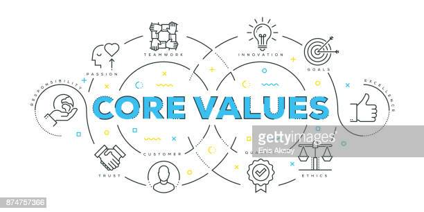 modern flat line design concept of core values - small business stock illustrations