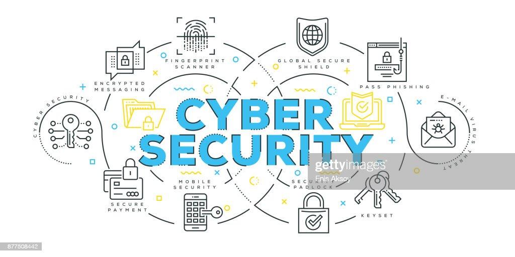 Modern Flat Line Design Concept of Cyber Security : stock illustration