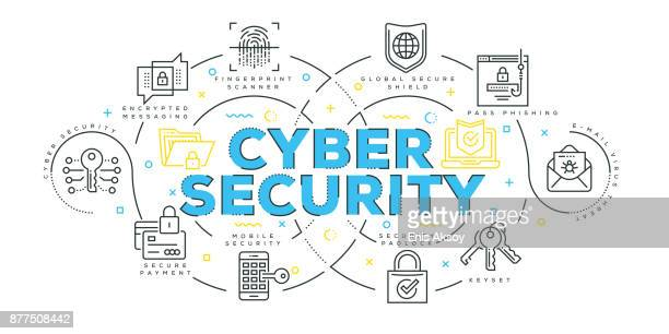modern flat line design concept of cyber security - threats stock illustrations