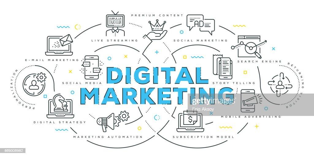 Modern Flat Line Design Concept of Digital Marketing : stock illustration