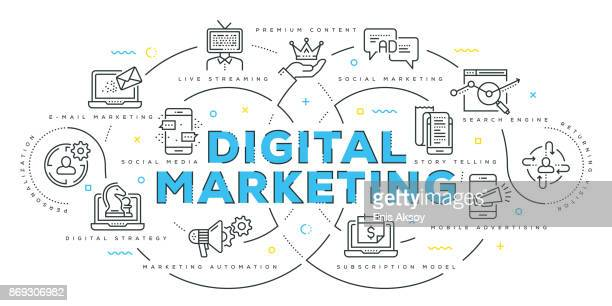 modern flat line design concept of digital marketing - strategy stock illustrations, clip art, cartoons, & icons