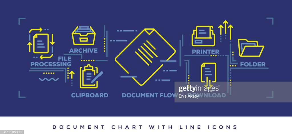 Modern Flat Line Design Concept of Document : stock illustration