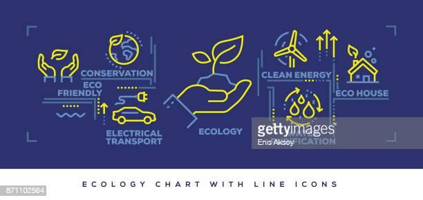 ilustraciones, imágenes clip art, dibujos animados e iconos de stock de línea plana moderna concepción de la ecología - ecosistema