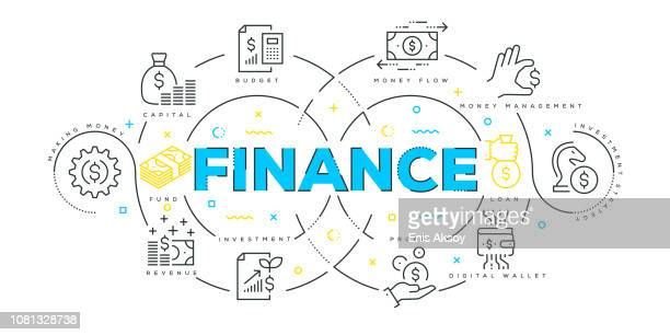 Modern Flat Line Design Concept of Finance