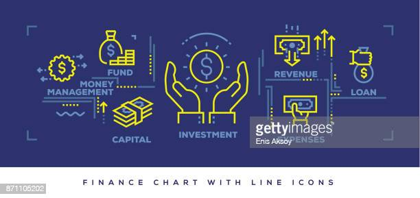 modern flat line design concept of finance - fund manager stock illustrations, clip art, cartoons, & icons
