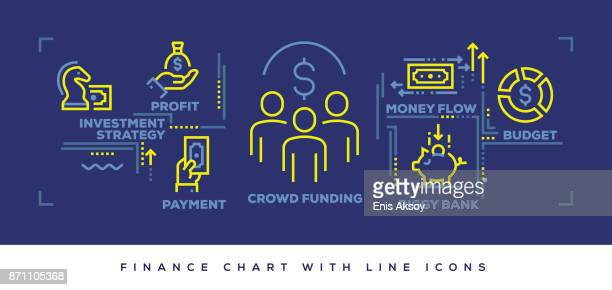 modern flat line design concept of finance - cash flow stock illustrations, clip art, cartoons, & icons