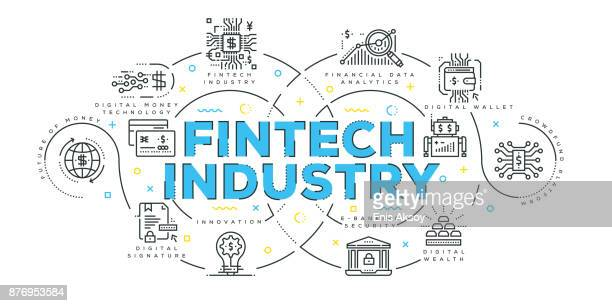 modern flat line design concept of fintech industry - financial technology stock illustrations, clip art, cartoons, & icons