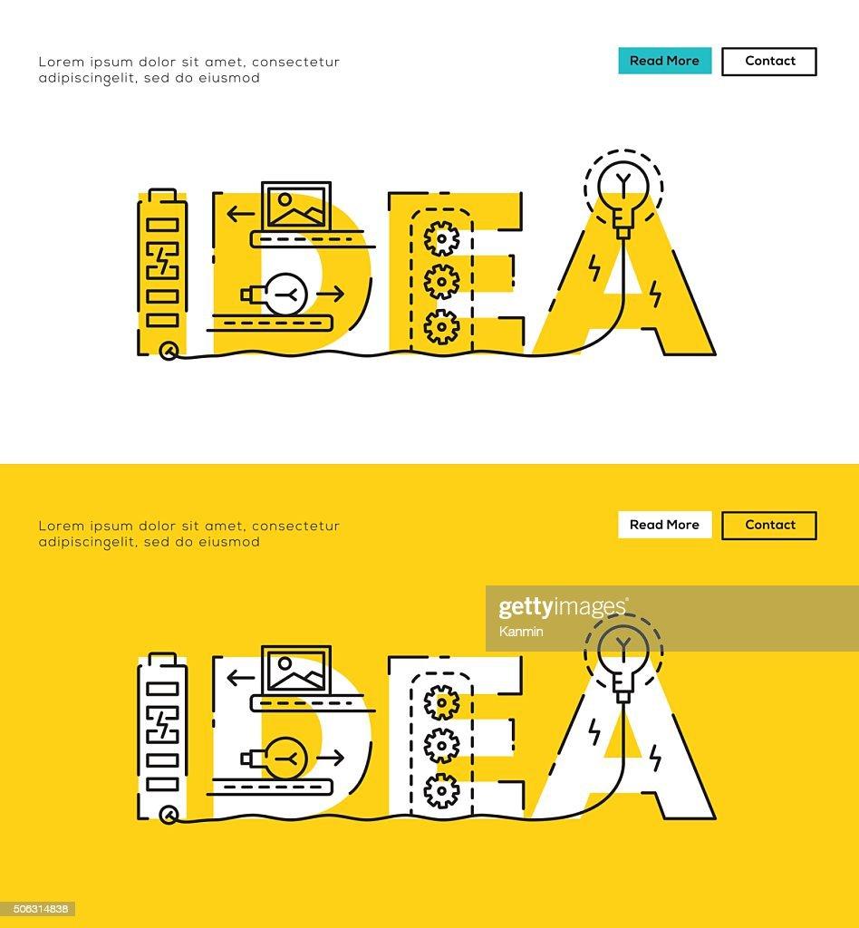 Modern Flat line design concept of Idea Process