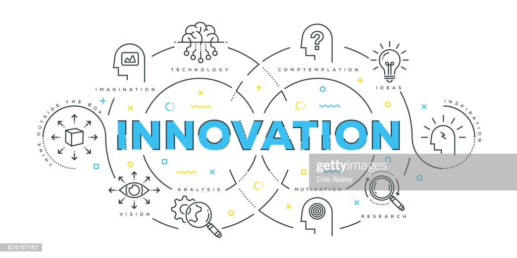 Modern Flat Line Design Concept of Innovation : stock illustration