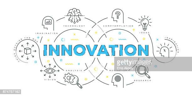 modern flat line design concept of innovation - contemplation stock illustrations, clip art, cartoons, & icons