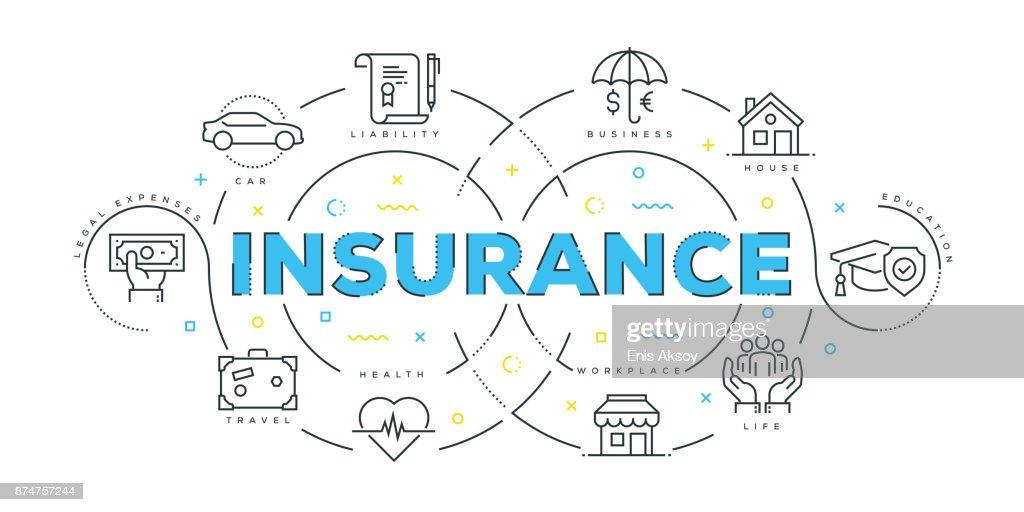 Modern Flat Line Design Concept of Insurance