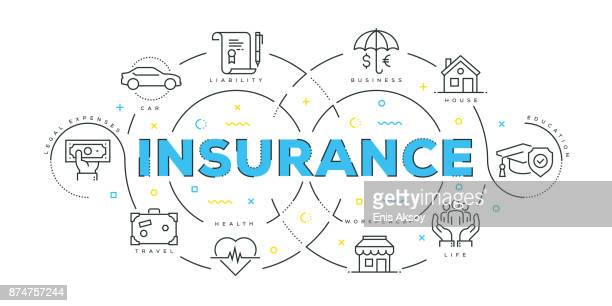 modern flat line design concept of insurance - misfortune stock illustrations, clip art, cartoons, & icons