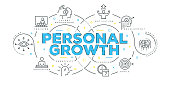 Modern Flat Line Design Concept of Personal Growth