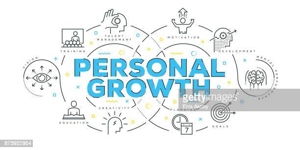 modern flat line design concept of personal growth - personal information stock illustrations, clip art, cartoons, & icons
