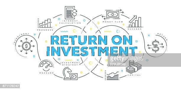 modern flat line design concept of return on investment - return on investment stock illustrations