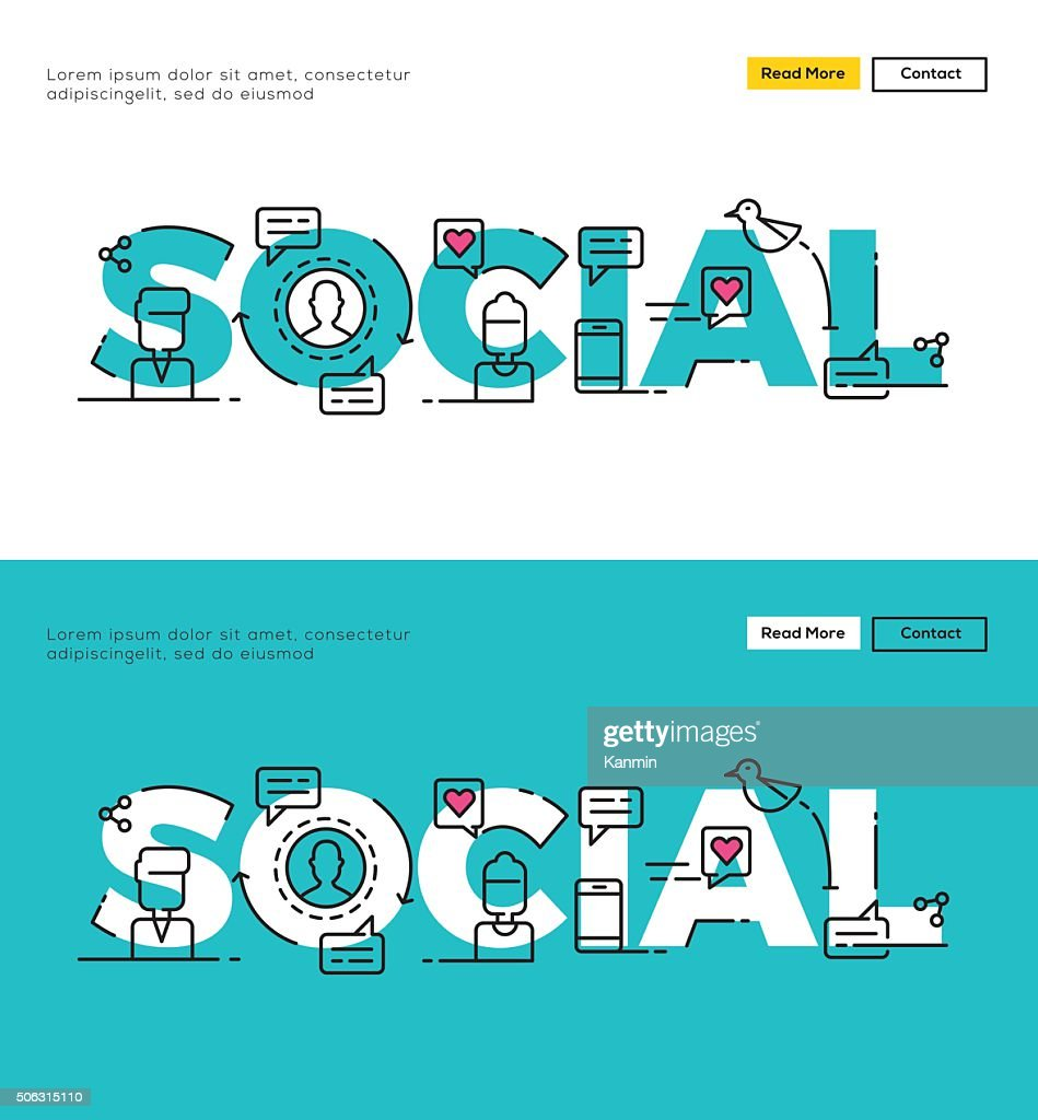Modern Flat line design concept of Social Media