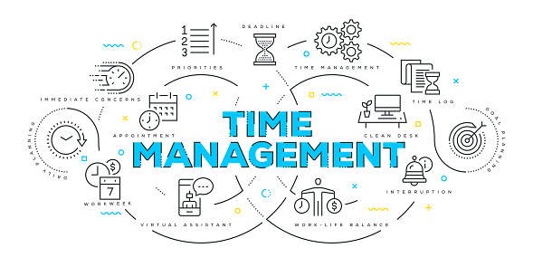 Modern Flat Line Design Concept of Time Management - gettyimageskorea