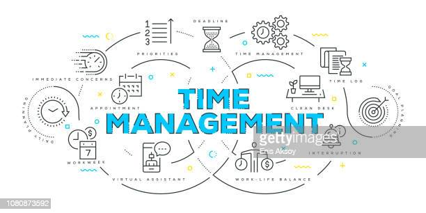 modern flat line design concept of time management - time stock illustrations