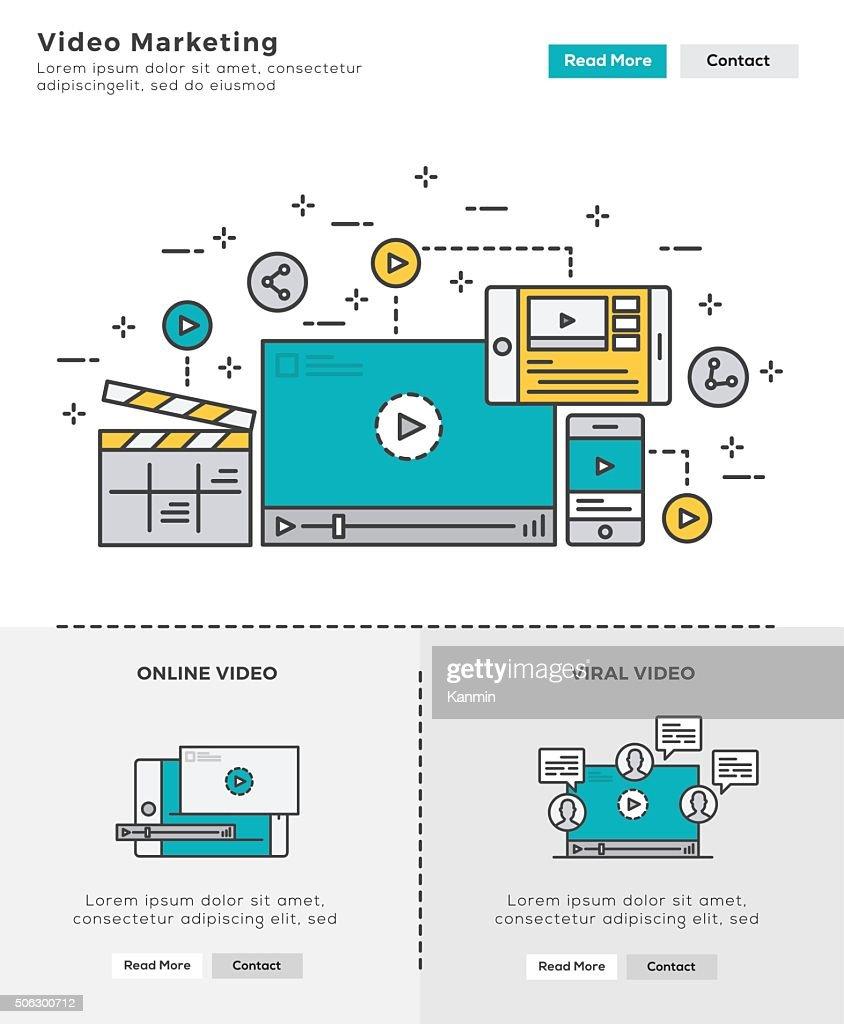Modern Flat line design concept of Video Marketing