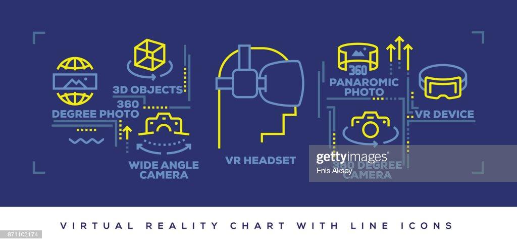 Modern Flat Line Design Concept of Virtual Reality : stock illustration