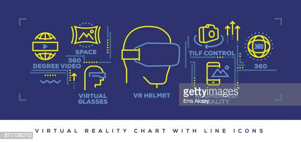 Modern Flat Line Design Concept of Virtual Reality