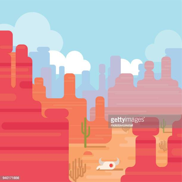 modern flat nature desert illustration with red rocky mountain