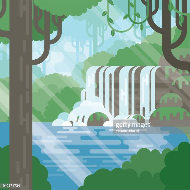 modern flat nature jungle illustration with pond - waterfall stock illustrations, clip art, cartoons, & icons