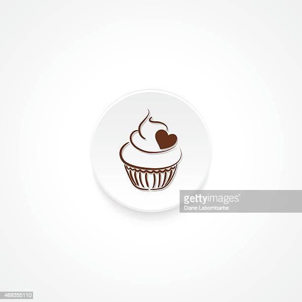 ilustrações, clipart, desenhos animados e ícones de moderno o ícone plana com sombra e cupcake - bolinho