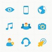 Modern flat social icons set on White