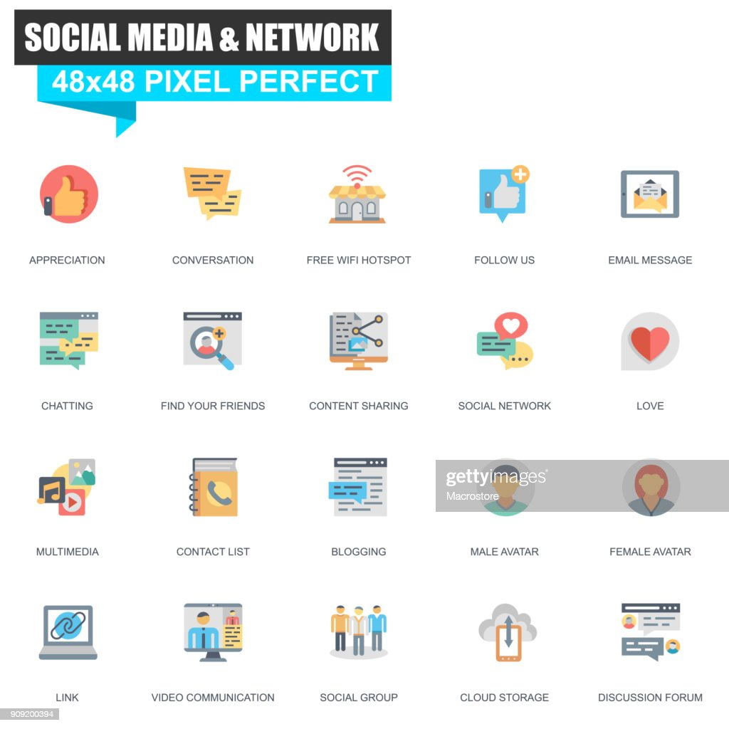 Modern flat social media and network icons set