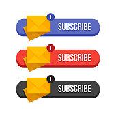Modern flat subscribe butoons set vector illustration