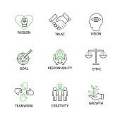 Modern Flat thin line Icon Set in Concept of Business Core Values with word Passion,Trust,Vision,Goal,Responsibility,Ethics,Teamwork,Creativity,Growrh.Editable Stroke.