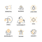 Modern Flat thin line Icon Set in Concept of Corporate Social Responsibility with word Marketing,Resource,Long Term,Ethics,Sustainability,Goal,Responsibility,Passion,Sincerity Editable Stroke.