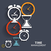 Modern Flat Time Management Vector Icon for Web